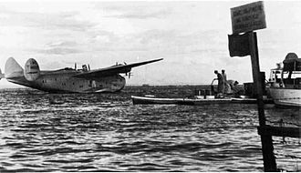 China Clipper flight departure site - Boeing 314 on Manila Bay in 1940.