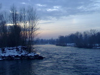 Province of Cremona - Adda river in winter.