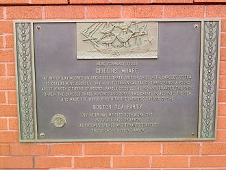 Boston Tea Party - Plaque affixed to side of the Independence Wharf building (2009)