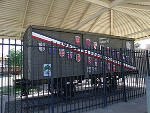 "Merci Train - Boxcar of a ""Merci Train"" at McCormick-Stillman Railroad Park in Scottsdale, Arizona"