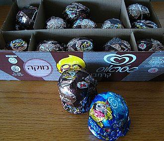 Chocolate-coated marshmallow treats - Foil-wrapped Krembo, mocha and vanilla flavors