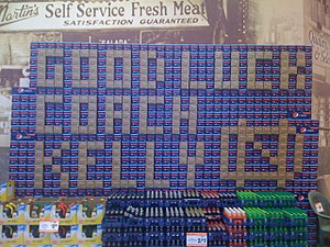 Brian Kelly (American football coach) - Pepsi display setup in August 2010 at the Martin's Supermarket in Granger, Indiana in anticipation of Kelly's first home game with Notre Dame.