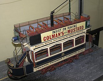 Bristol Tramways - A scale model of an 1899 Bristol electric tram. Note that the driver stood in the open.
