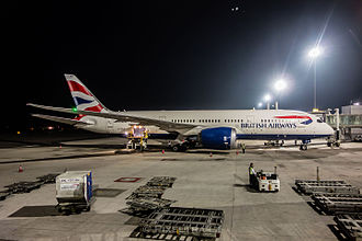 Rajiv Gandhi International Airport - British Airways provides RGIA's sole nonstop link to Europe, flying to London–Heathrow with the Boeing 787-8