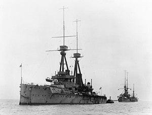 HMS Bellerophon (1907) - Bellerophon at anchor, 1911