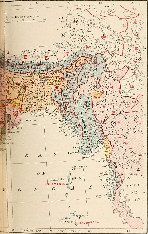 British India map of Northeast India and Myanmar, Bengal Assam Meghalaya Arunachal Pradesh Nagaland Manipur Mizoram Tripura regions 1891