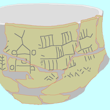 Bronocice pot with the earliest known image of a wheeled vehicle in the world, found in Poland Bronocice drawn.png