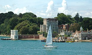 The castle and piers on Brownsea Island