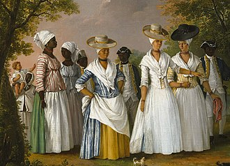 Free people of color - Free Women of Color with their Children and Servants, oil painting by Agostino Brunias, Dominica, c. 1764–1796.