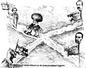 "Free and Independent Faction - Ghimpele cartoon of March 1877, showing Mihail Kogălniceanu undecided between the political camps of Ion Brătianu, Lascăr Catargiu, and Ion Ghica. Bottom left is the ""Center"", depicted as a headless calf ready for purchase"