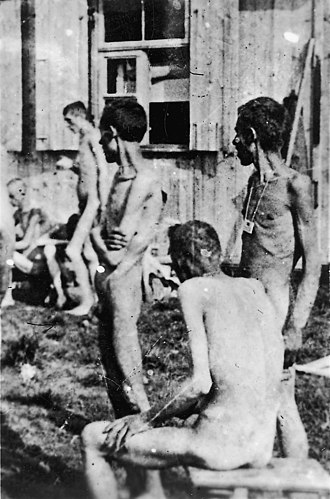 Action 14f13 - Buchenwald inmates, 16 April 1945 when camp was liberated