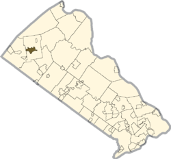 Location of Quakertown in Bucks County