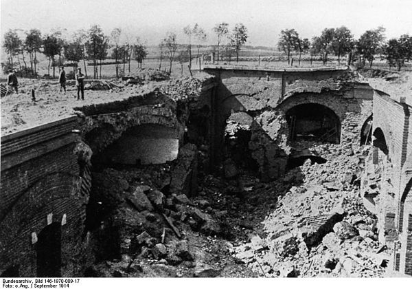 A casemate at Maubeuge, destroyed by German bombardment, 7 September 1914
