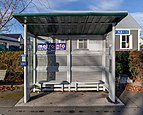 Bus stop at Edgeware St, St Albans, Christchurch, New Zealand.jpg