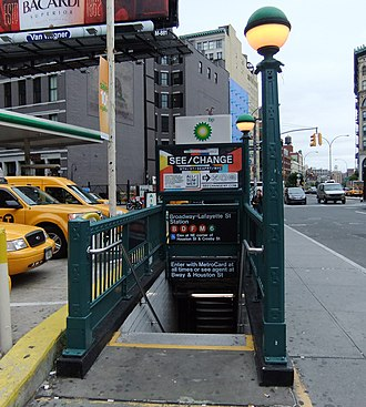 Bleecker Street/Broadway–Lafayette Street (New York City Subway) - One of the two street stairs along the south side of East Houston Street between Broadway and Crosby Street
