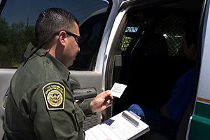 Miranda warning - A U.S. Customs and Border Protection (CBP) Border Patrol agent reading the Miranda rights to a suspect