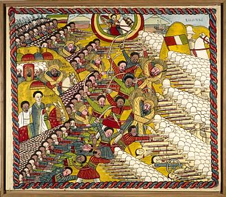 Battle of Adwa - Ethiopian forces, assisted by St George (top), win the battle. Painted 1965–75.