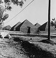 COLLECTIE TROPENMUSEUM Pyramides van zakken ongepelde aardnoten op een opslagplaats TMnr 20016988.jpg