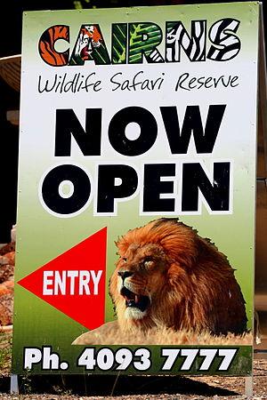 Shambala Animal Kingdom - Cairns Wildlife Safari Kuranda Highway entrance sign