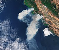 Satellite image of smoke from California wildfires