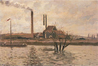 Factory at Sr Ouen-l'Aumône, the Flood of the Oise