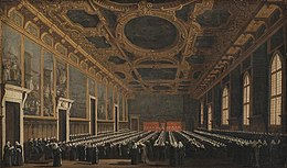 Canaletto - The Doge and Grand Council in Sala del Maggior Consiglio - KMS3898 - Statens Museum for Kunst.jpg