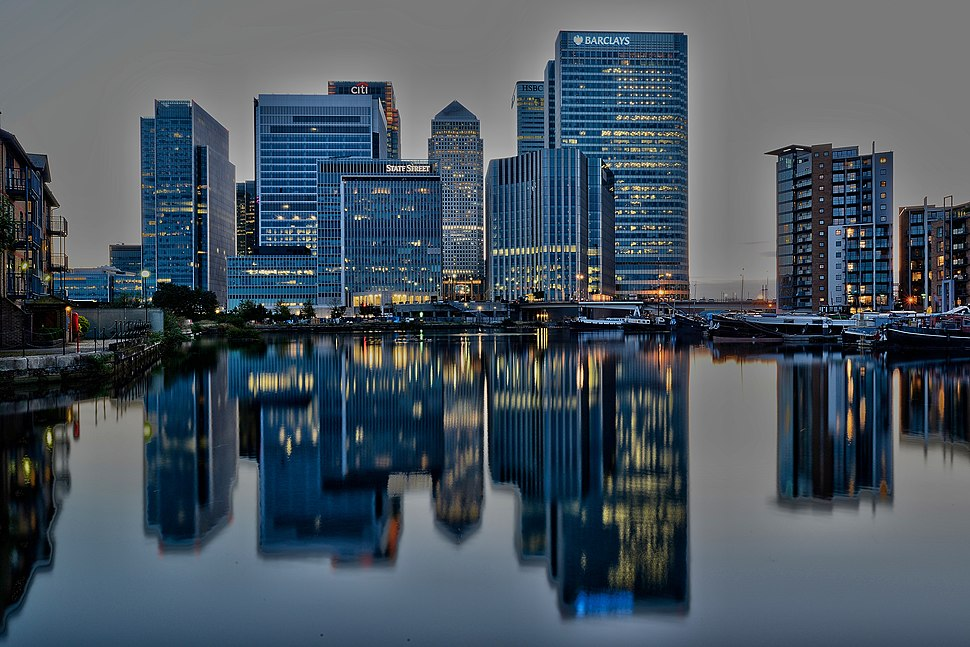 Canary Wharf after sunset (14764524389)