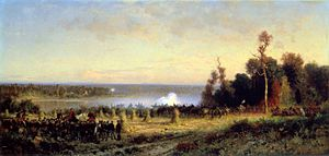 Battle of Ball's Bluff - Depiction of Ball's Bluff by Alfred W. Thompson