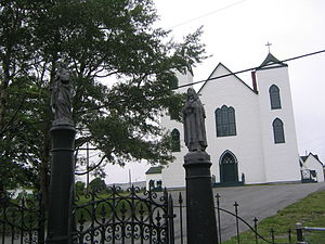 "Bay Bulls, Newfoundland and Labrador - St. Peter and St. Paul Church, showing the ""canonized saints"""