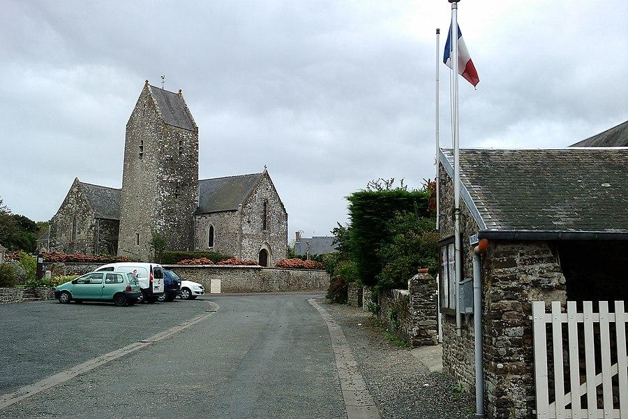 Fr:Canville-la-Rocque avec Église Saint-Malo au fond