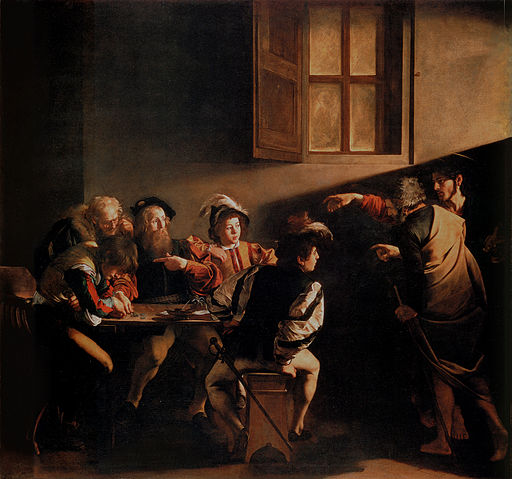 Caravaggio, Michelangelo Merisi da - The Calling of Saint Matthew - 1599-1600 (hi res)