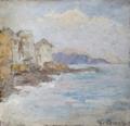 Carlo Bazzi, oil on canvas, Italienische Kustenpartie Bei Genua, Italian coastline near Genoa.png