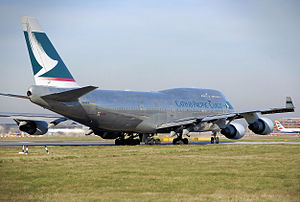 Cathay Pacific Cargo Boeing 747-400BCF taxis t...
