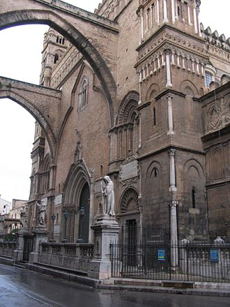 Palermo Cathedral - The main façade, connected with arcades to the Archbishops' Palace