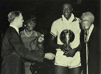 Cazzie Russell - Russell accepts the 1966 Big Ten MVP trophy