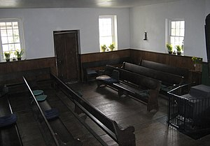 The interior of an old meeting house in the Un...