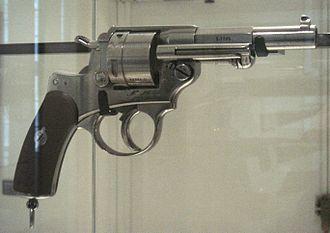 Henri-Gustave Delvigne - Chamelot-Delvigne revolver Mle 1873. Caliber 11 mm. Length: 0.24 m. Weight: 1.2 kg.
