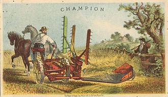 Reaper - Champion reaper, trade card from 1875