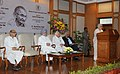 Chandresh Kumari Katoch addressing at the launch of the Gandhi Heritage Portal, in New Delhi. The Prime Minister, Dr. Manmohan Singh, the Union Minister for Communications & Information Technology and Law & Justice.jpg