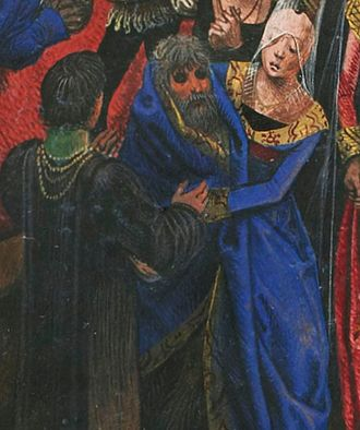 Bal des Ardents - Detail of the Duchess of Berry, wearing a high conical hennin, covering a costumed Charles with the train of her dress