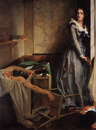 Charlotte Corday by Paul Jacques Aime Baudry, posthumous (1860). Under the Second Empire, Marat was seen as a revolutionary monster and Corday as a heroine of France, as indicated by her location in front of the map. Charlotte Corday.jpg