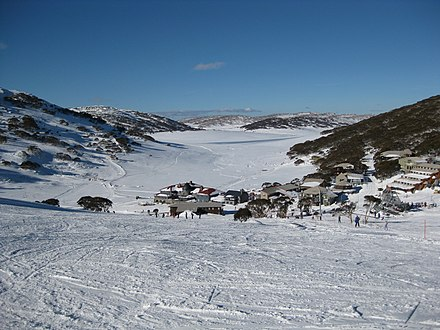Charlotte Pass, a pioneer of the Australian ski industry. Village elevation at 1760 m. Charlotte Pass 2008.jpg