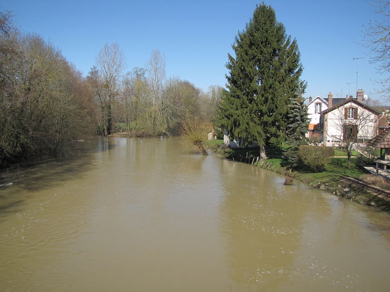 The Ouanne river in Charny, Yonne, North Burgundy, France; in the rue des Ponts, looking downstream. Light flooding on March 13, 1013.