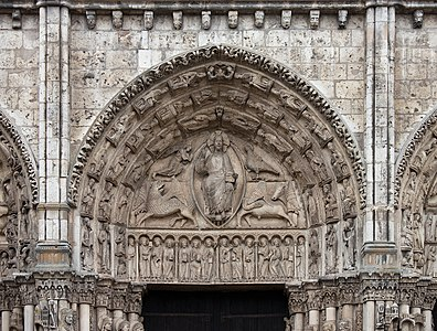 Royal portal, central tympanum of Chartres Cathedral
