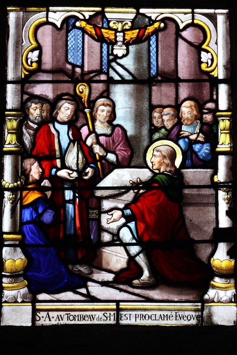 Den hellige Anianus av Orléans velges til biskop, glassmaleri i den katolske sognekirken Saint-Aignan i Chartres