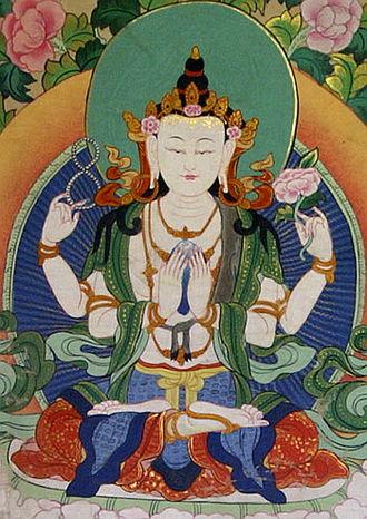 Avalokiteśvara - Four-armed Tibetan form of Avalokiteśvara.