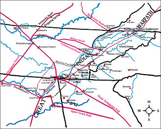 Chickamauga Cherokee - The primary areas of operations during the Chickamauga Wars, showing the more prominent settlements of the war and postwar Lower Towns in the lower left quarter