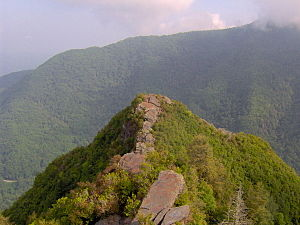 Chimney Tops - The lower capstone of Chimney Tops, looking north from the higher capstone.
