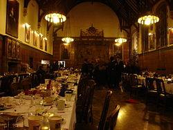 Students departing from the annual Christmas dinner in Strachan Hall