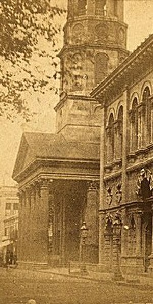 Circular Congregational Church - The portico and steeple base of the Circular Church were photographed in 1860.